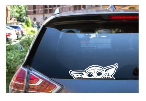 Baby Yoda Grogu peeking Car Truck Window Decal Sticker