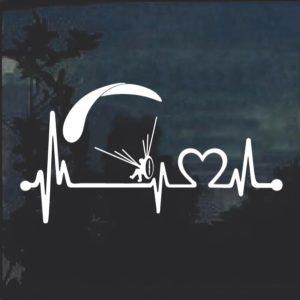 Paramotor Heartbeat Love window decal sticker