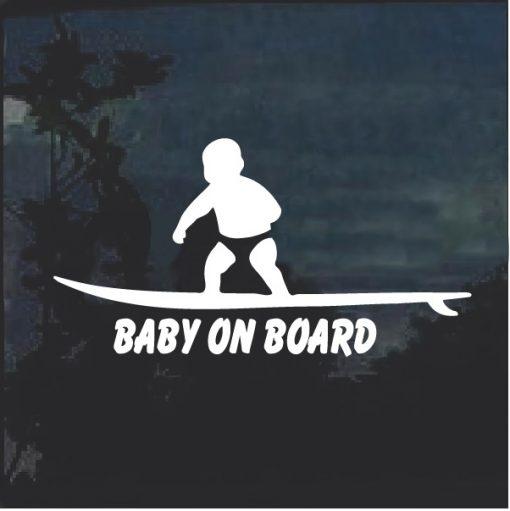 Baby on Board Sticker - surfing surf D2