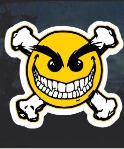 Emoji Evil Smiley Crossbones Decal Sticker